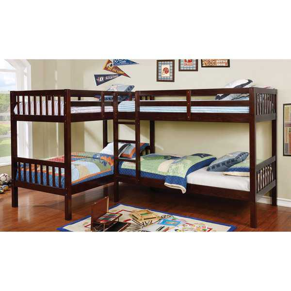 Lankton Contemporary Twin L-shaped Quadruple Bunk Bed by FOA