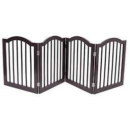 Internet's Best Pet Gate with Arched Top | 4 Panel | 24 Inch Step Over Fence | Folding Doorway Hall Stairs Dog Puppy Gate