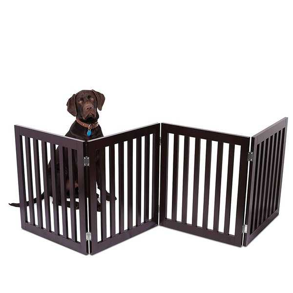 Internet's Best Traditional Pet Gate | 4 Panel | 24 Inch Step Over Fence | Free Standing Doorway Hall Stairs Dog Puppy Gate
