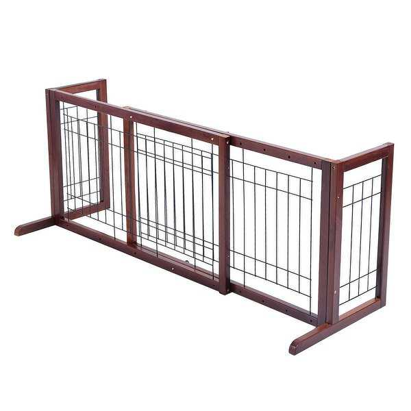 Costway Wood Dog Gate Adjustable Indoor Solid Construction Pet Fence Playpen Free Stand - as pic