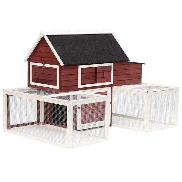 PawHut 114' Modular Wooden Backyard Chicken Coop With Nesting Box And Customizable Dual Outdoor Runs
