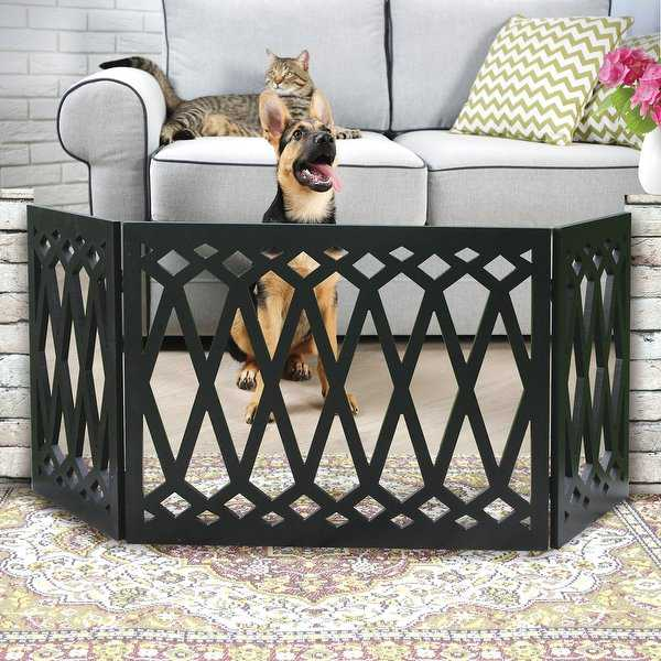 Etna 3-Panel Diamond Design Wood Pet Gate - Decorative Tri Fold Dog Fence - Black - 19 in. x 48 in. x 1.5 in.