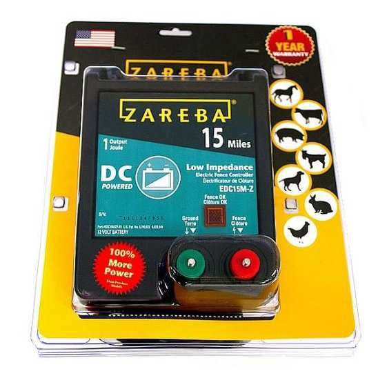 Zareba EDC15M-Z Battery Operated Low Impedance Fence Charger, 15 Mile