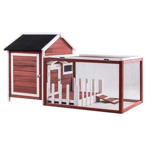 Gymax Wooden Rabbit Hutch Chicken Coop Bunny Small Animal Cage House White Picke Fence - Auburn and White
