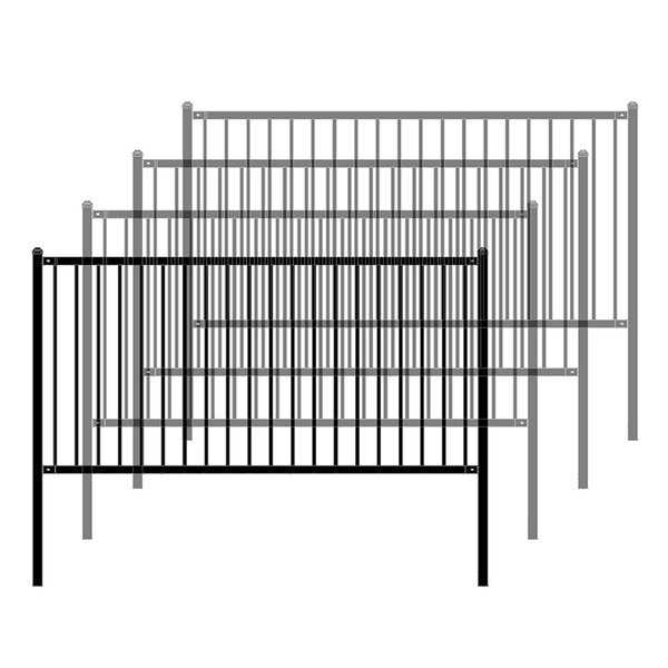 ALEKO Lyon Style Unassembled Steel Fence 8' x 4' Black Lot of 4