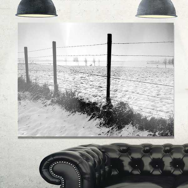 Landscape in Snow with Fence - Oversized Beach Glossy Metal Wall Art