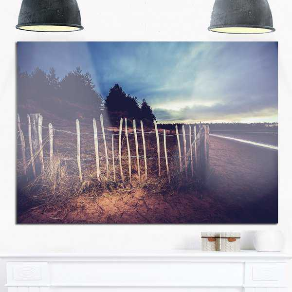 Old Fence on Beach at Sunset - Landscape Glossy Metal Wall Art