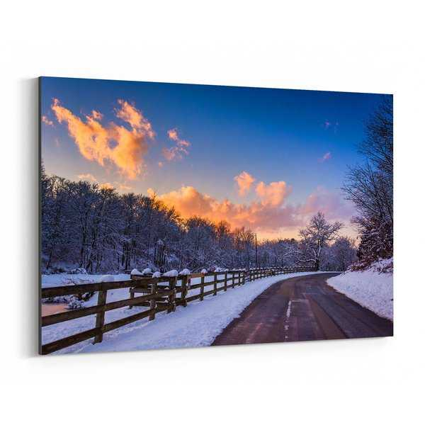 Noir Gallery Winter Farm Sunset Pennsylvania Canvas Wall Art Print